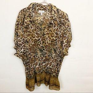 Fashion Bug l Leopard Print Button Down Blouse
